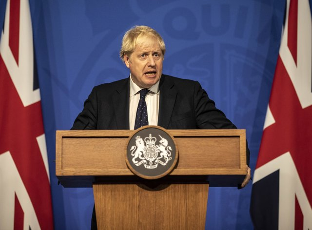 Prime Minister Boris Johnson during a media briefing in Downing Street (Richard Pohle/The Times/PA)