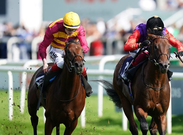 Bayside Boy (left) winning the Champagne Stakes at Doncaster (Mike Egerton/PA)