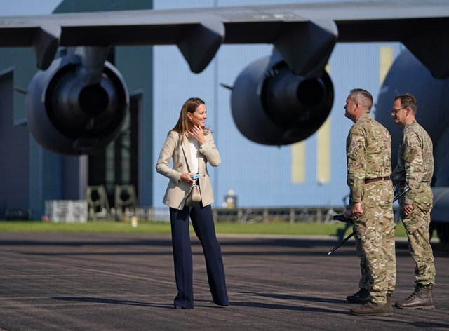 The Duchess of Cambridge visited RAF Brize Norton and met personnel involved in rescue efforts from Afghanistan (Steve Parsons/PA)