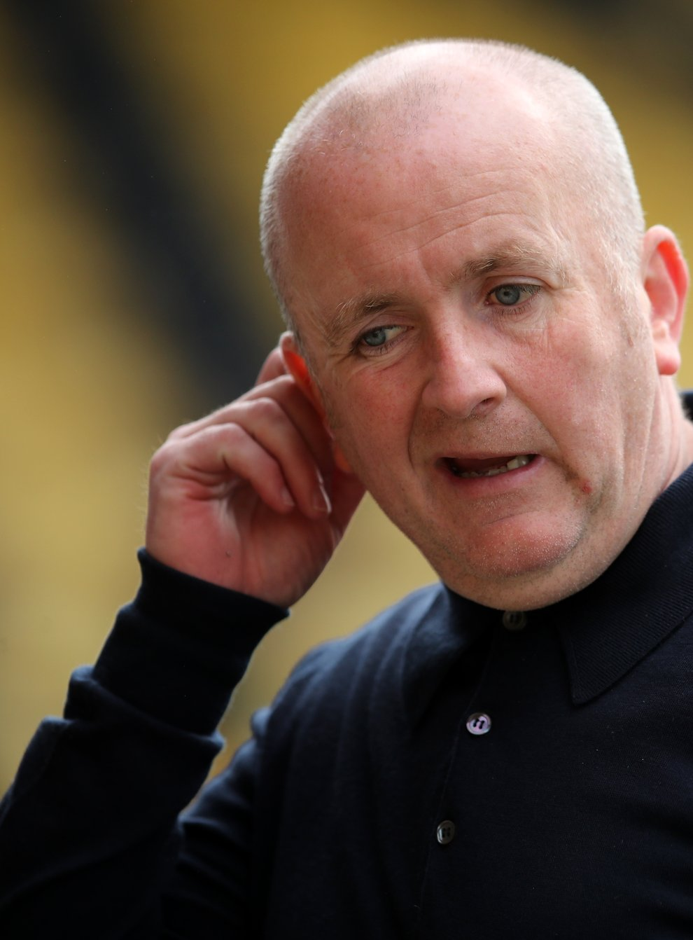 Livingston manager David Martindale during the warm up before the Scottish Premiership match at the Tony Macaroni Arena, Livingston. Picture date: Wednesday May 12, 2021.