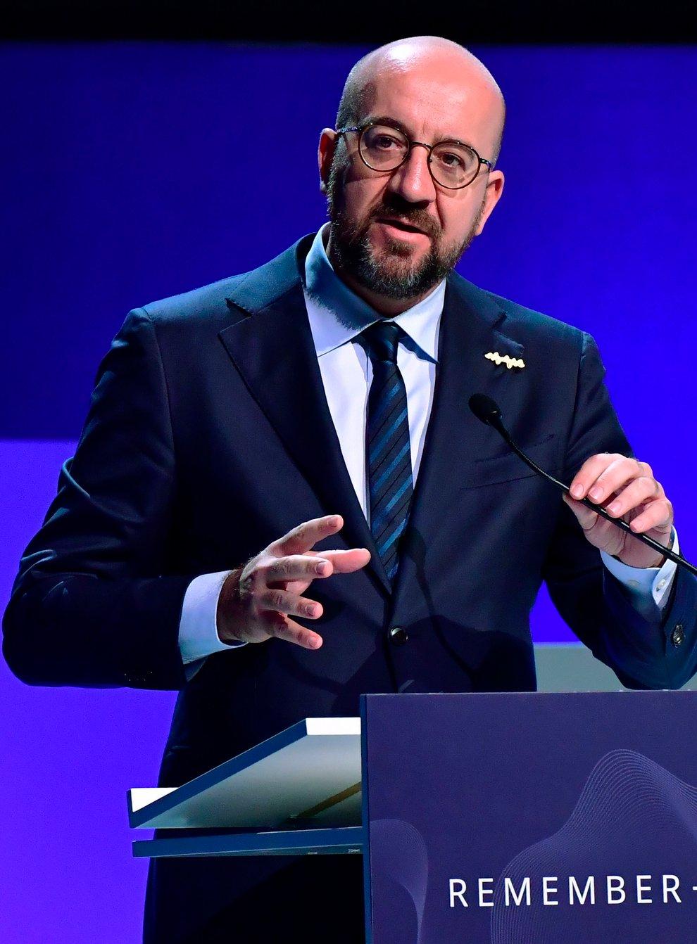 European Council President Charles Michel speaks at the conference (Jonas Ekstromer/TT via AP)