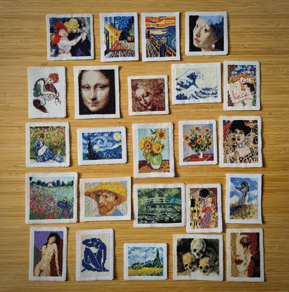 Elcin Ozcan's mini cross-stitch artworks (Elcin Ozcan/PA)