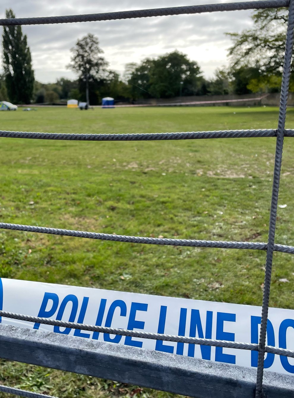 Police tape at the scene on a playing field in Craneford Way, Twickenham, south-west London, where an 18-year-old was stabbed on Tuesday afternoon (Sophie Wingate/PA)