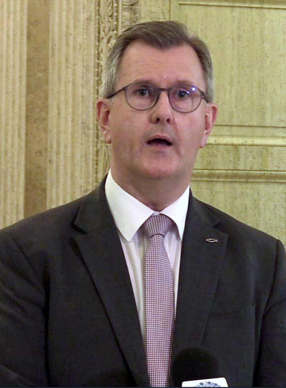 DUP leader Sir Jeffrey Donaldson speaks to the media in the Great Hall of Parliament Buildings, Belfast. Picture date: Thursday September 16, 2021.