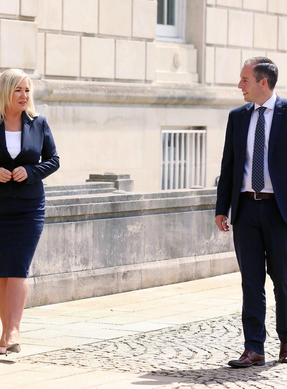 Paul Givan and Michelle O'Neill urged people to continue to follow public health guidance (Kelvin Boyes/Press Eye/PA)